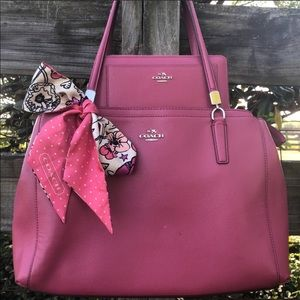 Coach Christie Red Punch Pink Satchel Wallet Set